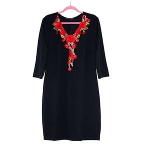 Red Floral applique dress from Forever 21+